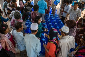 The project site's initial supply of 20 litre water bottles quickly sold out.