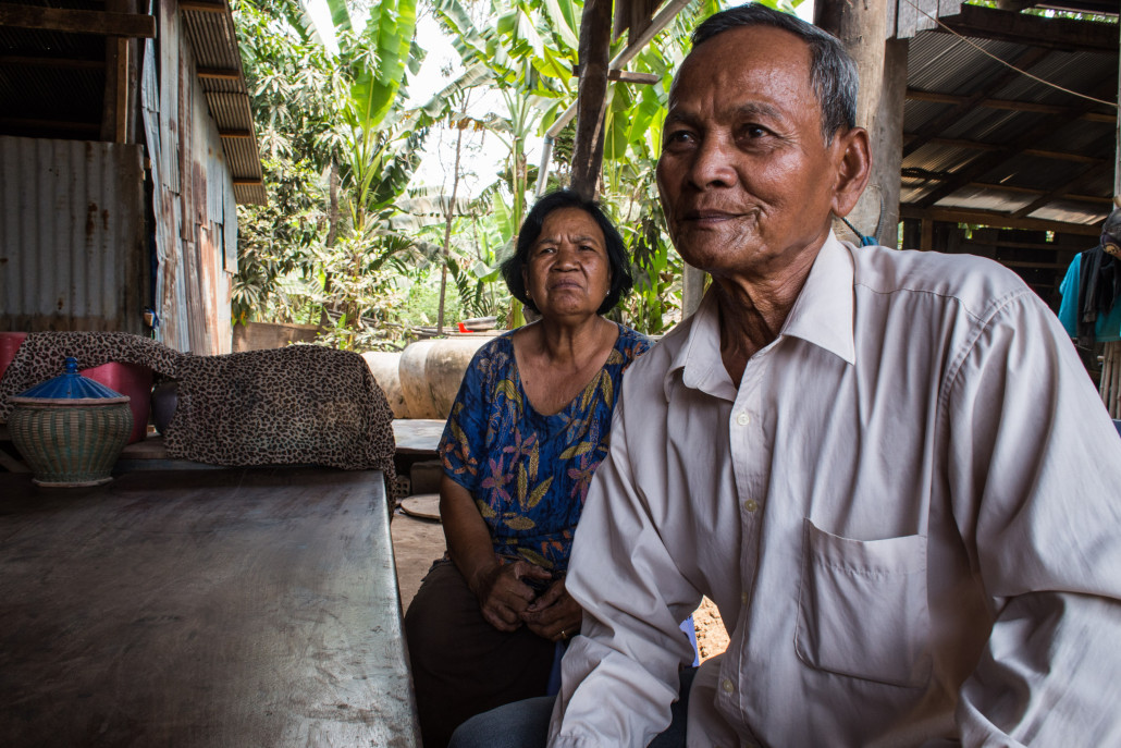 Mr. Touch and his wife at their home in Preak Koy Village