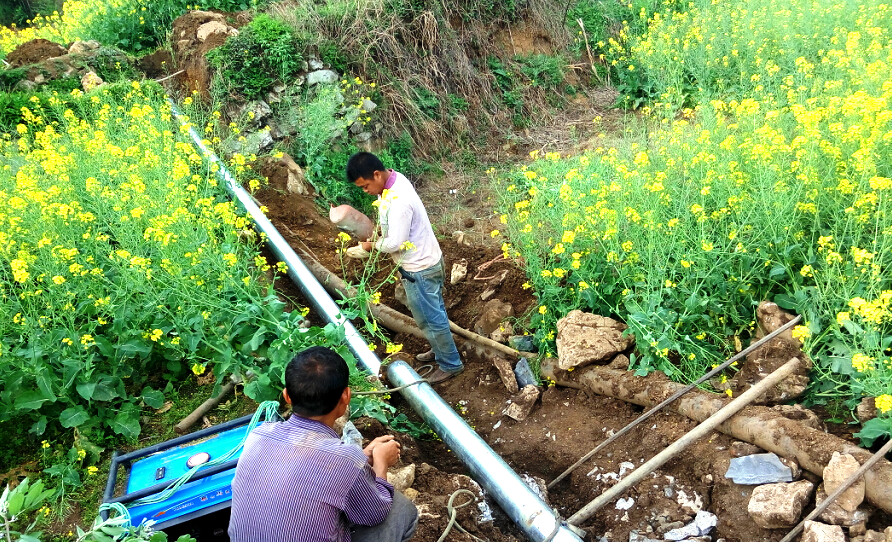 Construction of piped water system in Jinlan village, Guizhou