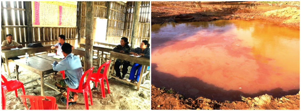 Meeting with the commune council in Koul commune, Kampong Thom province (left); Current water source for villagers in Msar Krang commune, Kampong Thom province (right).