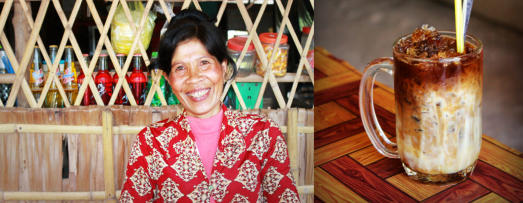 (Left) Shop owner Se Hin; (right) coffee made by Se Hin.